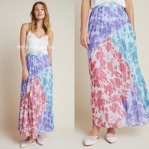 ANTHROPOLOGIE Violetta Pleated Maxi Skirt Floral